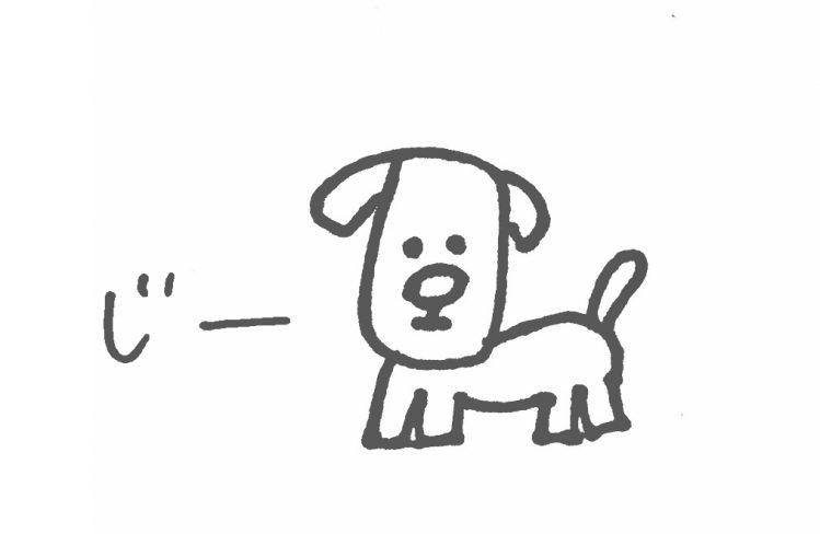 こちらをみつめる犬のイラスト
