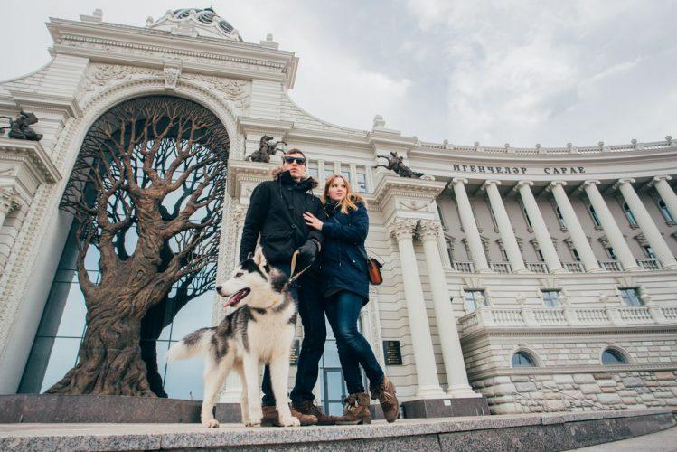シベリアンハスキーとカップルが散歩している様子