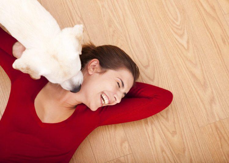 犬に顔を舐められる女性